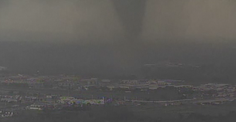 <p>This still image taken from a broadcast by an NBC News affiliate shows a tornado which touched down in Dallas in early April, 2012.</p>
