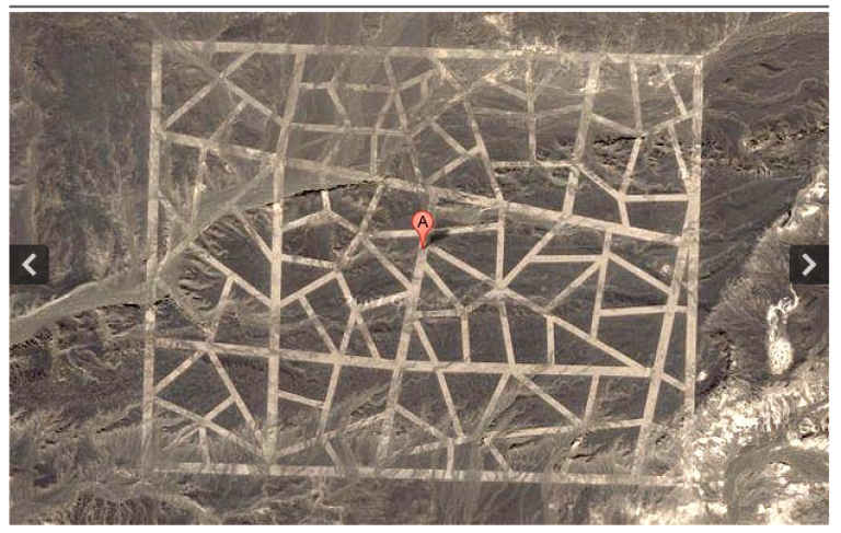 <p>Google Earth image near the borders of Gansu province and Xinjiang, some less than 100 miles from the headquarters of China's space program.</p>