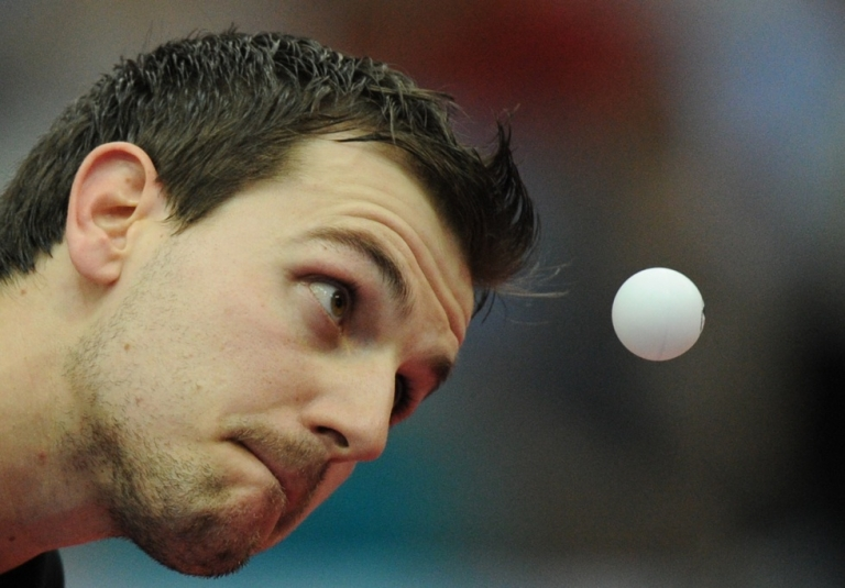 <p>Timo Boll of Germany during the men's final at the 2010 World Team Table Tennis Championships in Moscow on May 30, 2010.</p>