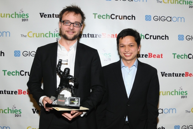 <p>Pinterest, winners of the Best New Startup Award pose backstage at the 5th Annual Crunchies Awards at Davies Symphony Hall on Jan. 31, 2012 in San Francisco, California.</p>