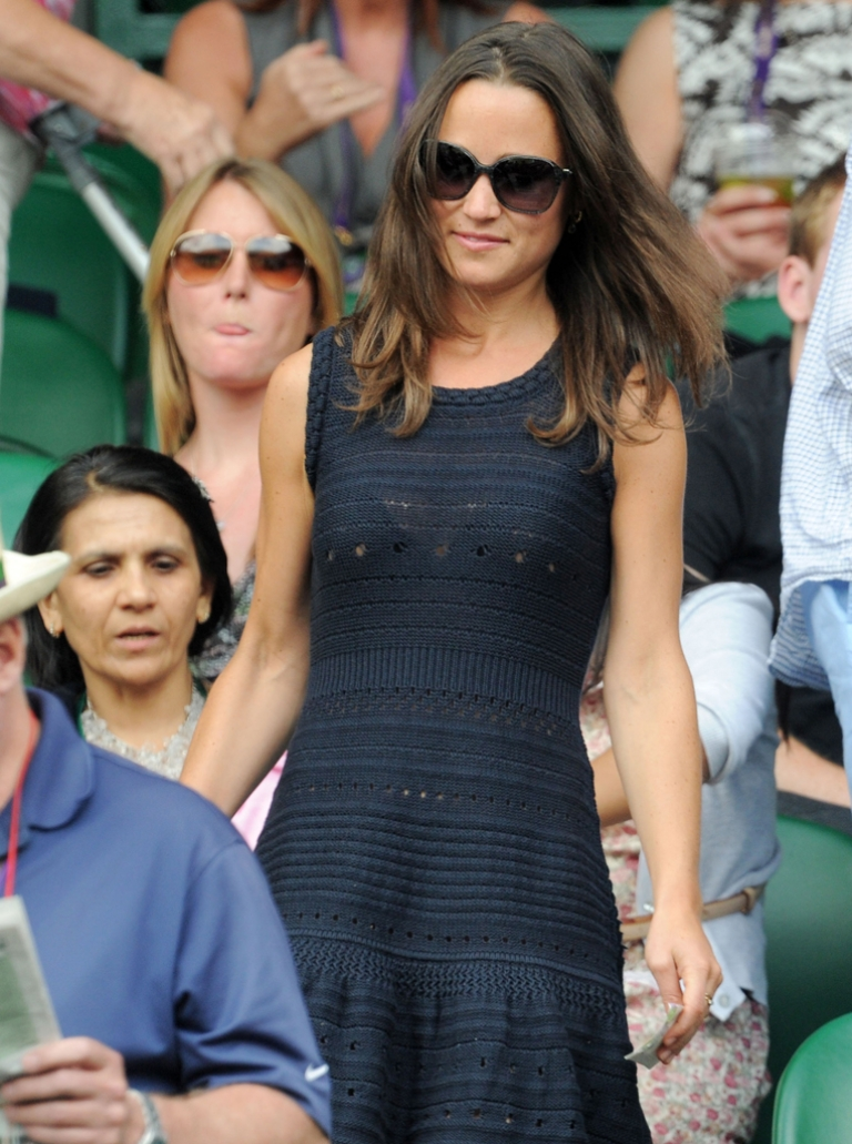 <p>Pippa Middleton attends the semifinal round match between Andy Murray of Great Britain and Rafael Nadal of Spain on Day Eleven of the Wimbledon Lawn Tennis Championships at the All England Lawn Tennis and Croquet Club on July 1, 2011 in London, England. Pippa is reportedly considering a move to New York ahead of her book's release in October.</p>