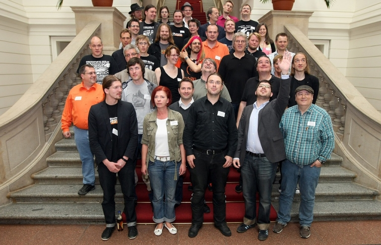 <p>Representatives of the German Pirate Party from the states in which the party won seats in regional elections pose for a group photo in the Berlin Parliament (Abgeordnetenhaus) building on June 9, 2012 in Berlin, Germany. The Pirates, a newcomer on the German political scene, are capitalizing on discontent with Germany's established parties and have already won major seats in four state parliaments, but incidents of infighting and disagreements are affecting unity within the party.</p>