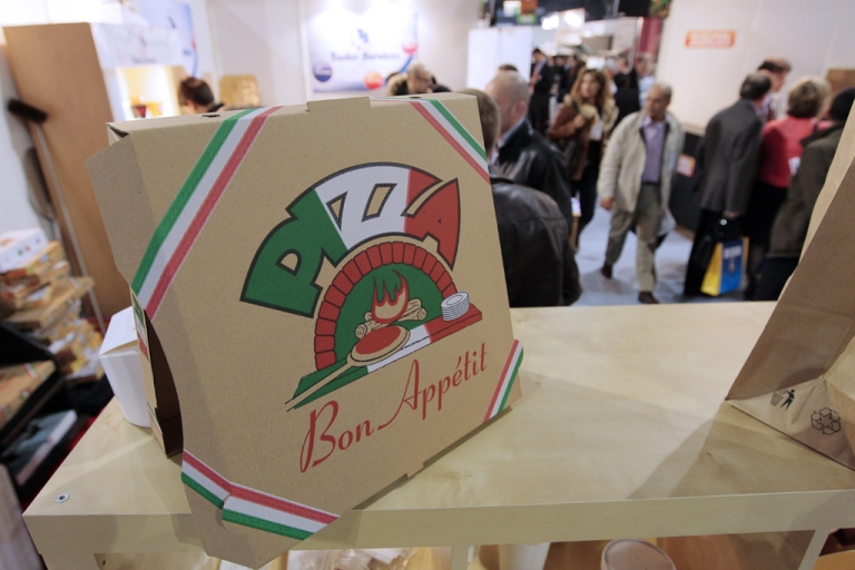<p>A box of pizza is shown on March 31, 2010 during the Pizza &amp; Pasta expo, part of the