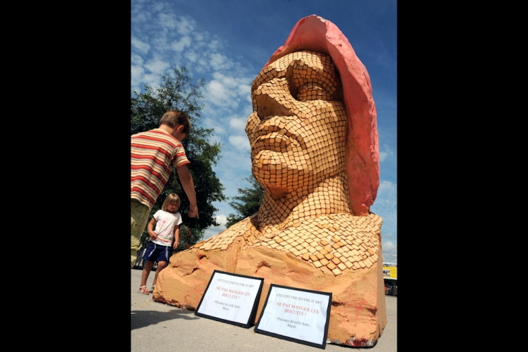 <p>It's a good thing this sculpture of Frederic Chopin, made with cookies, wasn't displayed in Poland, where folks take the composer very seriously. It welcomed the Polish tall ship Fryderyk Chopin to Nantes, western France, on Aug. 22, 2010.</p>