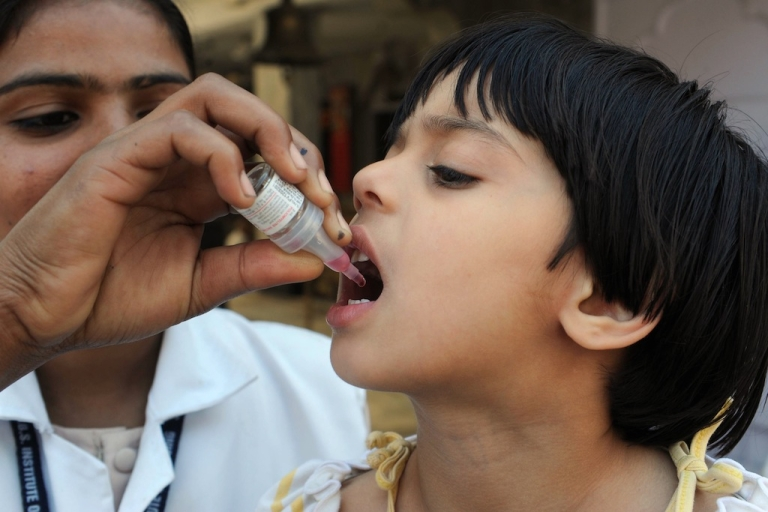 <p>A girl receives polio vaccination drops from a medical volunteer during an immunisation drive. Vanessa Kerry's organization focuses on creating accessible, local healthcare around the world, and will partner with the Peace Corps on a new initiative.</p>