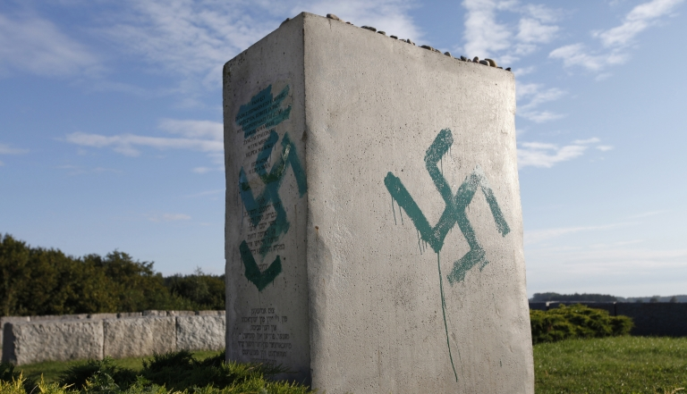 <p>A monument commemorating the pogrom of Jews elsewhere in Poland in the village of Jedwabne, is found vandalized on Sept 1. Unknown offenders demolished the stone fence of the monument.</p>