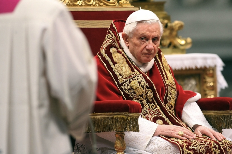 <p>Pope Benedict XVI attends his fourth concistory at the Saint Peter's Basilica on February 18, 2012 in Vatican City, Vatican. The 84 year old Pontiff installed 22 new cardinals during the ceremony, who will be responsible for choosing his sucessor. (Photo by Franco Origlia/Getty Images)</p>
