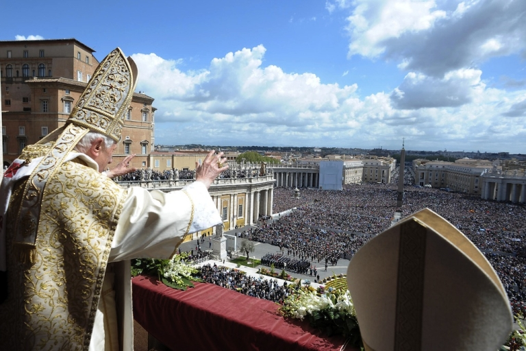 <p>Pope Benedict XVI delivers his 'Urbi et Orbi' message and blessing from the central balcony of St. Peter's Basilica at the end of the Easter Mass on April 8, 2012 in Vatican City, Vatican.</p>