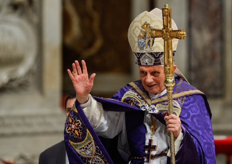 <p>Pope Benedict XVI waves as he leaves after leading the Vesper prayer with members of Rome's universities on Dec. 1, 2012 at St. Peter's basilica at the Vatican. On Feb. 11, the Vatican announced the Catholic leader will resign at the end of the month.</p>