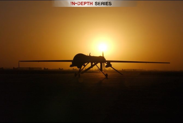 <p>The RQ-1 Predator drone lands at Balad Air Base in Iraq after a sortie on Sept. 15, 2004.</p>