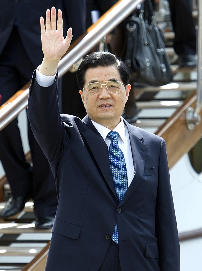 <p>China's President Hu Jintao wave as he leave the Danish Royal yacht Dannebrog in Copenhagen on June 15, 2012. Hu had a hand in the arrest of a state-security official believed to be a US spy.</p>
