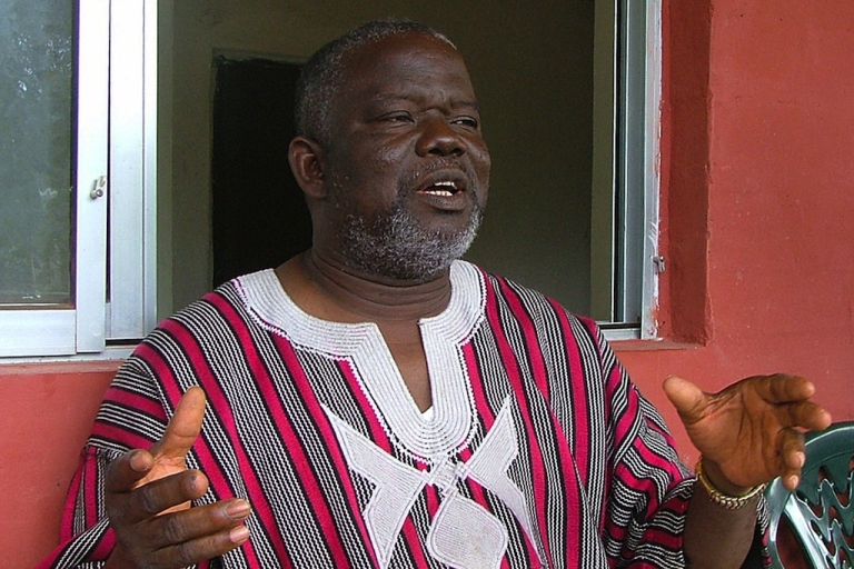 <p>Former Liberian warlord Prince Johnson announced that he will support President Ellen Johnson Sirleaf in the upcoming run-off expected on Nov. 8.  He is shown here giving an exclusive interview to AFP on Oct. 26, 2008, in Monrovia, Liberia.</p>
