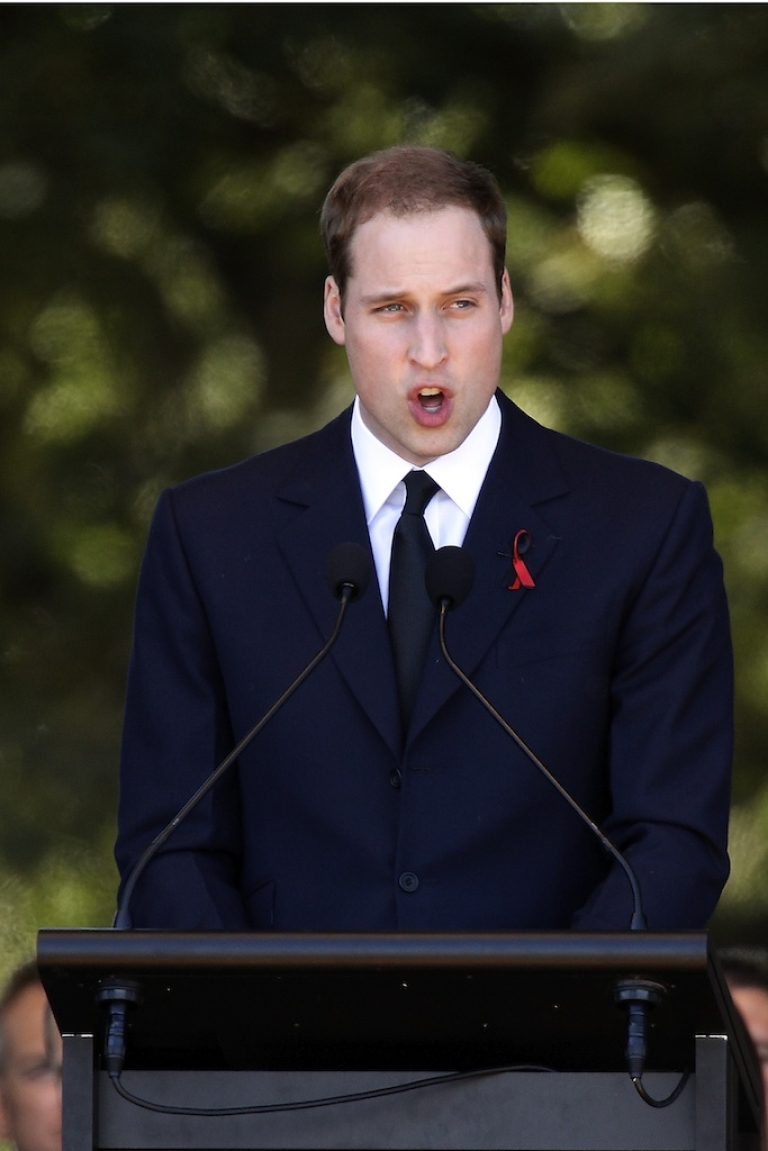 <p>Prince William speaks at a memorial service on March 18, 2011, in Christchurch, New Zealand.</p>