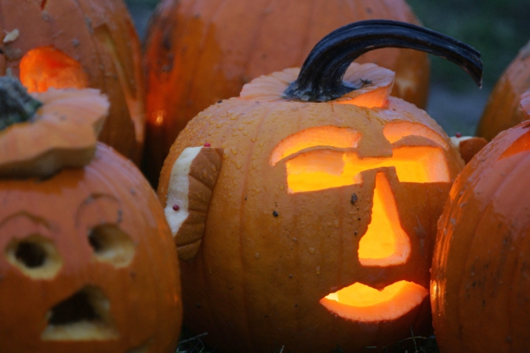 <p>Carved Halloween pumpkins on display during the Pumpkin Festival in Boston, Mass., on Oct. 22, 2005.</p>