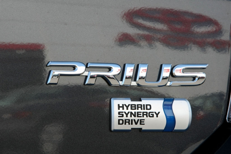 <p>A new Toyota Prius hybrid car sits on display at Marin Toyota on March 20, 2009, in San Rafael, California.</p>