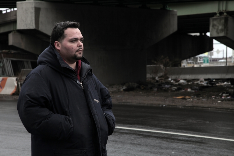 <p>Alfonso Casta, visiting the Bronx highway underpass where he shot drugs after fleeing the ministry.</p>