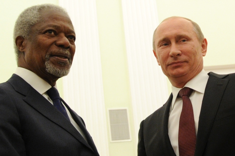 <p>Russian President Vladimir Putin rebuffed UN envoy Kofi Annan's effort to find compromise on Syria earlier this week.</p>