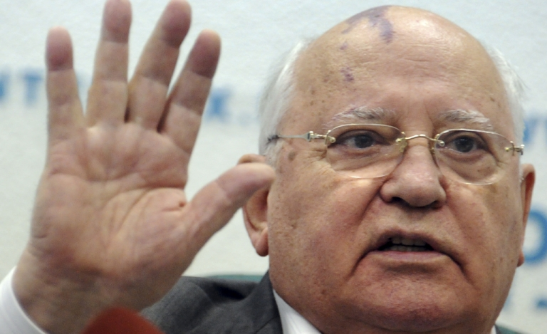 <p>Soviet ex-president Mikhail Gorbachev speaks during a press conference in Moscow on August 17, 2011.</p>