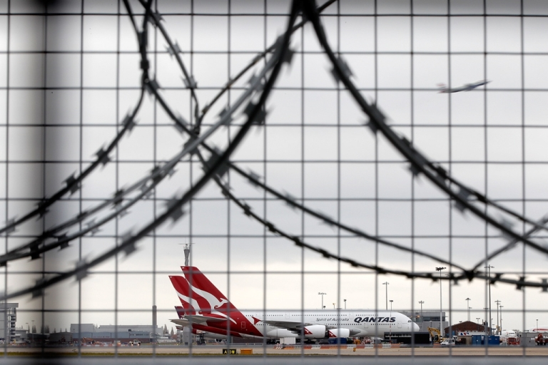 <p>Qantas airline jets sit grounded on the tarmac at Heathrow airport on October 30, 2011 in London, England.</p>