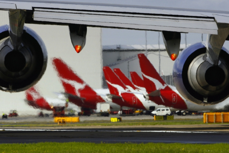 <p>Qantas planes, with flying kangaroo tailfins, line Sydney airport.</p>