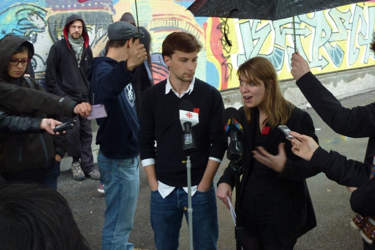 <p>Student union leaders Gabriel Nadeau-Dubois, left, and Jeanne Reynolds speak with journalists in Montreal on May 10, 2012.</p>