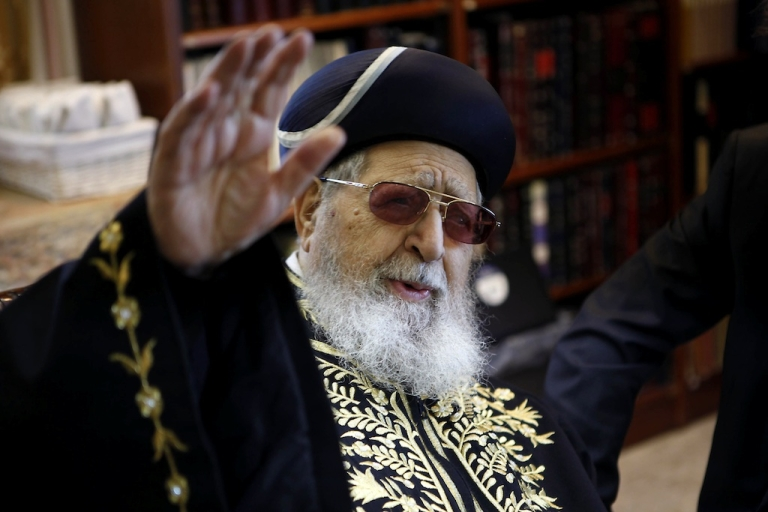 <p>Rabbi Ovadia Yossef, spiritual leader of the Israeli ultra-Orthodox Shas party, gestures during a meeting in Jerusalem on December 11, 2011.</p>