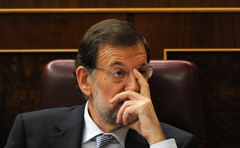 <p>Mariano Rajoy, Spain's new Prime Minister, just before he addresses Parliament yesterday, looks like he's wondering what mess have I got myself into?</p>