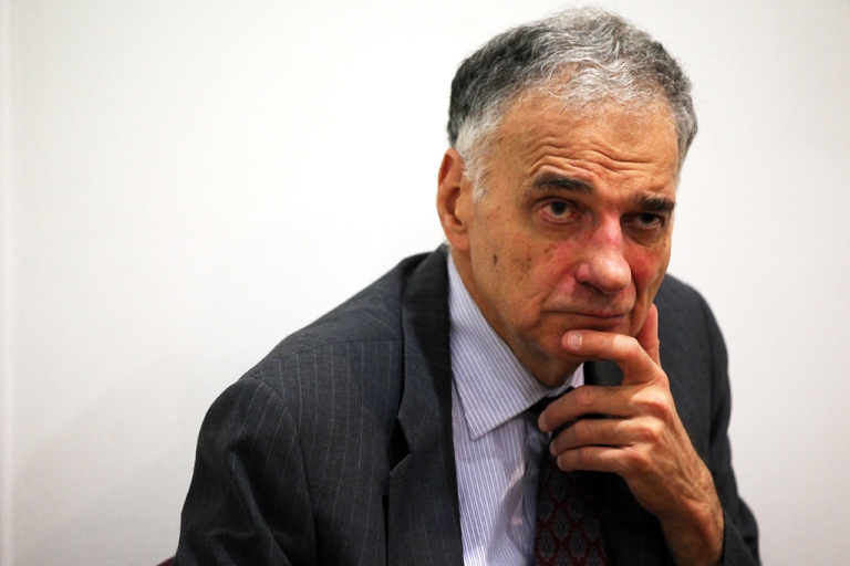 <p>Former presidential candidate Ralph Nader listens during a news conference July 2, 2012 at Public Citizen in Washington, DC.</p>