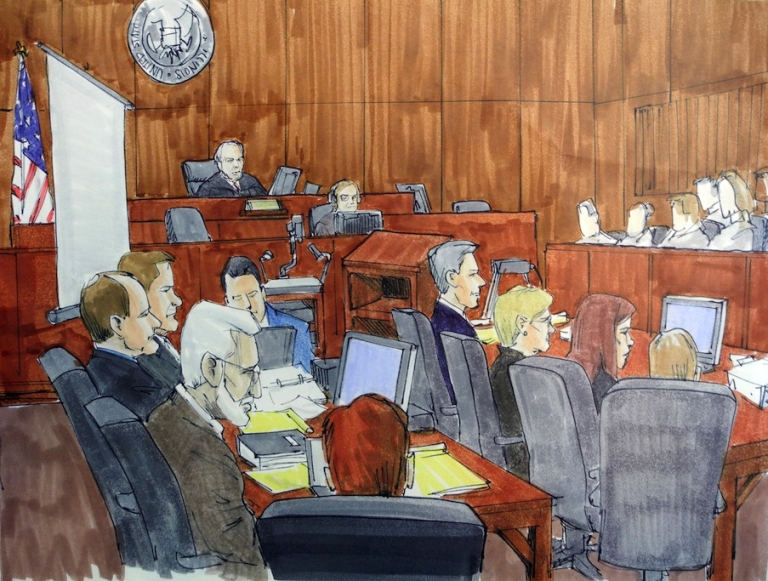 <p>This courtroom drawing shows Tahawwur Rana (left, white hair) during closing arguments of his closely-watched terrorism trial in Chicago on June 7, 2011.</p>