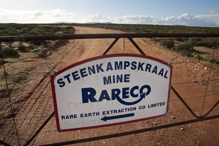 <p>The entrance gate to Steenkampskraal mine, north of the town of Vanrhynsdorp in South Africa. The mine was abandoned in 1963, and is now being turned into a rare earths facility.</p>