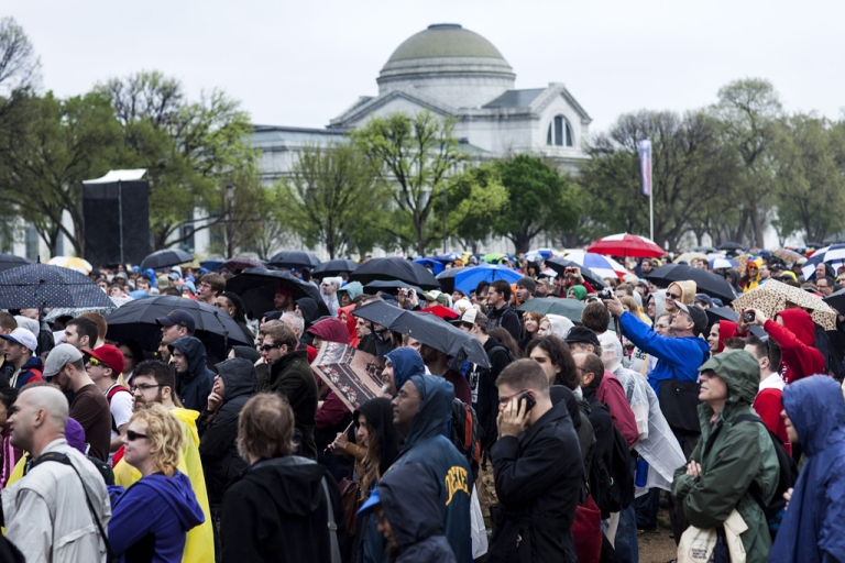 <p>People listen during the Reason Rally on the National Mall March 24, 2012 in Washington, DC. Atheist group IHEU has submitted a document to the United Nations, claiming that non-believers face persecution worldwide.</p>