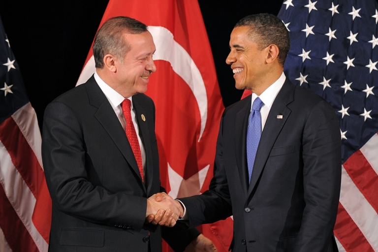 <p>US President Barack Obama shakes hands with Turkish Prime Minister Recep Tayyip Erdogan after their bilateral meeting in Seoul on March 25, 2012 on the eve of the 2012 Seoul Nuclear Security Summit.</p>