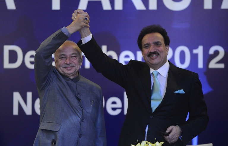 <p>Interior Minister of Pakistan Rehman Malik (R) shakes hands with Indian Home Minister Sushilkumar Shinde during the launch of new visa agreement in New Delhi on December 14, 2012. Days later, Malik scuttled any goodwill built on his visit.</p>