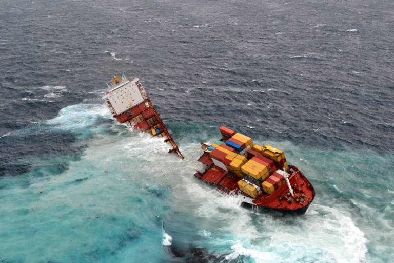 <p>The Rena lies in two pieces after overnight bad weather pounded the vessel, on Jan. 8, 2012 in Tauranga, New Zealand.</p>