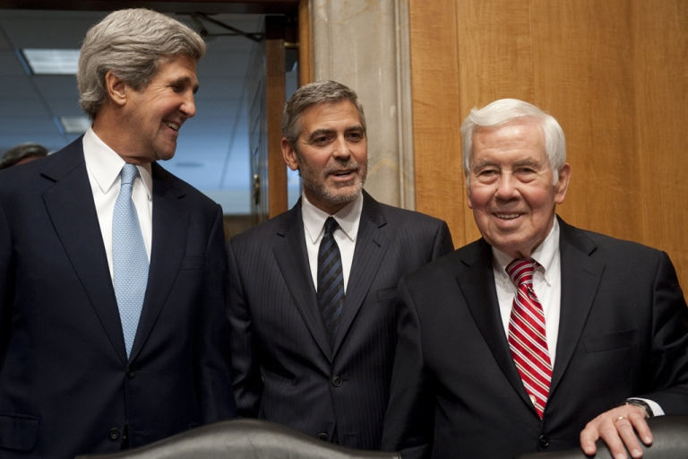 <p>Senator Richard Lugar (R-Indiana) on the right, with George Clooney and Senator John Kerry (D-MA) on Capitol Hill in Washington, DC. Lugar was defeated in the Indiana primary by a tea party-backed challenger on May 8, 2012, after serving for more than 30 years in the Senate.</p>