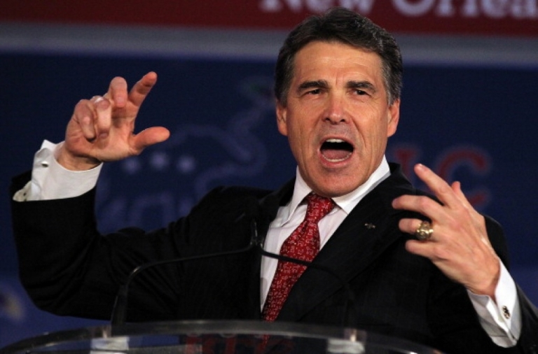 <p>Texas governor Rick Perry speaks during the 2011 Republican Leadership Conference on June 18, 2011 in New Orleans.</p>