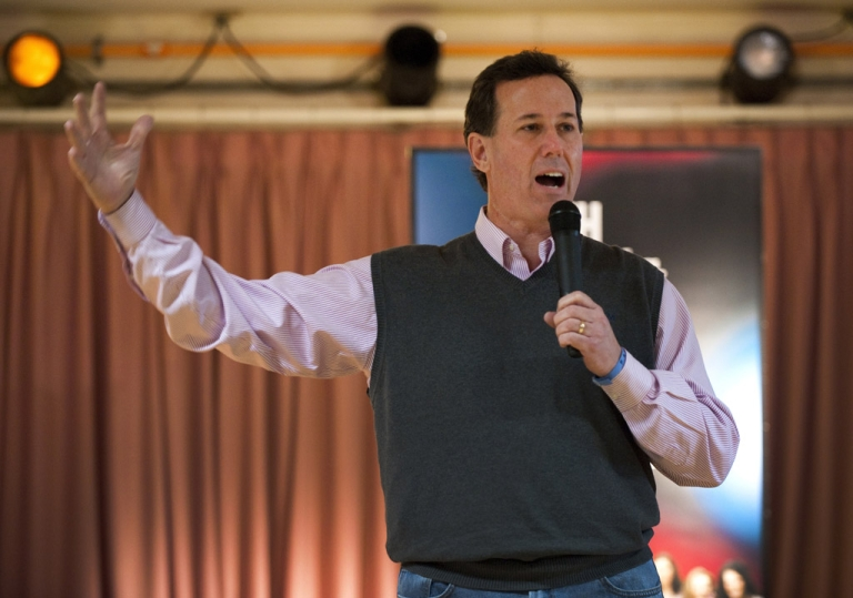 <p>Republican presidential candidate Rick Santorum addresses a town hall meeting in Salem, New Hampshire.</p>
