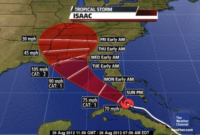 <p>Tropical Storm Isaac is headed toward the Florida Keys Saturday, but is gathering strength for a potential landfall in the northern Gulf Coast later this week.</p>
