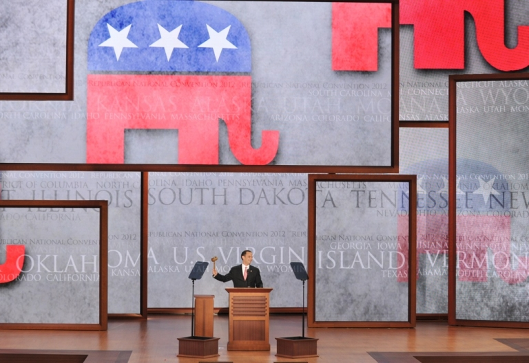 <p>The Chairman of the Republican National Convention (RNC) Reince Priebus gavels the convention to order at the Tampa Bay Times Forum in Tampa, Florida, on August 27, 2012.</p>