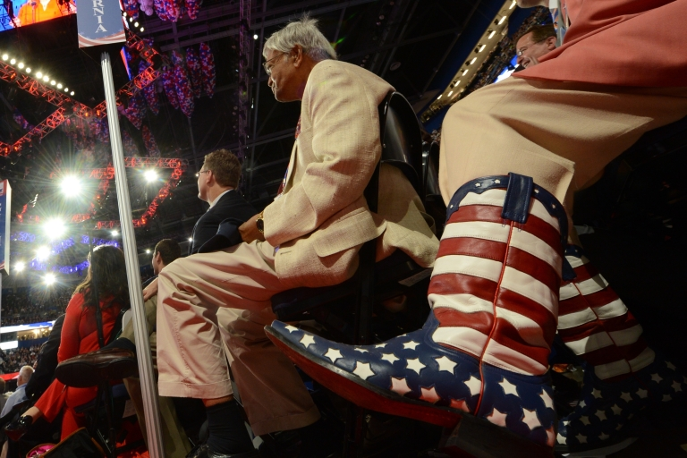 <p>Delegates from California listen to Ann Romney, the wife of Republican presidential candidate Mitt Romney, at the Tampa Bay Times Forum in Tampa, on Aug. 28, during the Republican National Convention.</p>