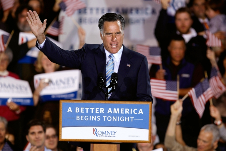 <p>Republican presidential candidate, former Massachusetts Gov. Mitt Romney addresses supporters during a campaign rally titled