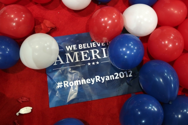 <p>A sign sits on the floor after Republican presidential candidate, former Massachusetts Gov. Mitt Romney, accepted the nomination during the final day of the Republican National Convention at the Tampa Bay Times Forum on August 30, 2012 in Tampa, Florida.</p>