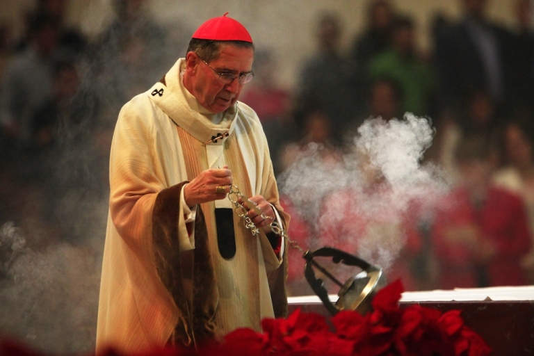 <p>LOS ANGELES, CA - DECEMBER 25:  Cardinal Roger Mahony leads Christmas mass at The Cathedral of Our Lady of the Angels December 25, 2010 in Los Angeles, California.</p>