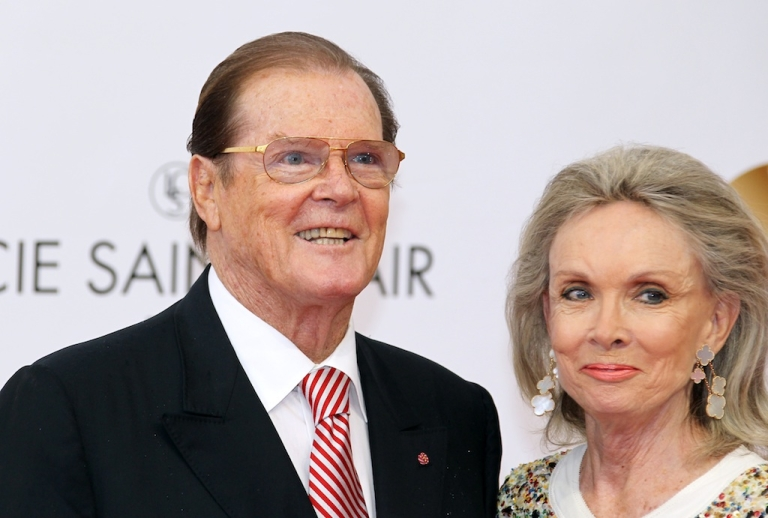 <p>Roger Moore poses with his fourth wife, Christina Tholstrup, during the opening ceremony of the 52th Monte-Carlo Television Festival on June 10, 2012 in Monaco.</p>