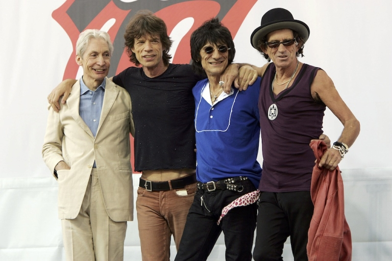<p>Charlie Watts, Mick Jagger, Ron Wood, and Keith Richards of The Rolling Stones pose for a photo during a press conference to announce a world tour at the Julliard Music School May 10, 2005 in New York City.</p>
