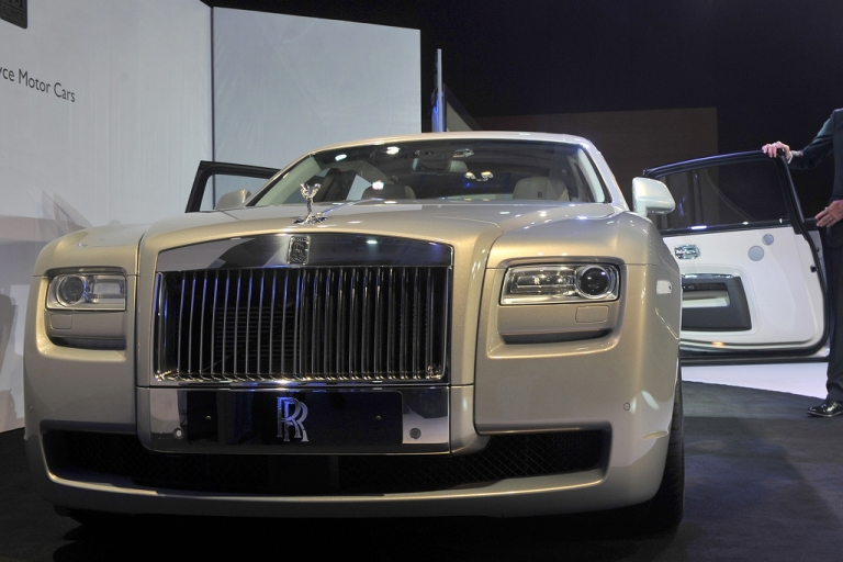 <p>Rolls-Royce unveils a new iteration of their Ghost model in Mumbai, India in 2011. The vehicle's popularity has propelled the company's sales to unprecedented levels.</p>