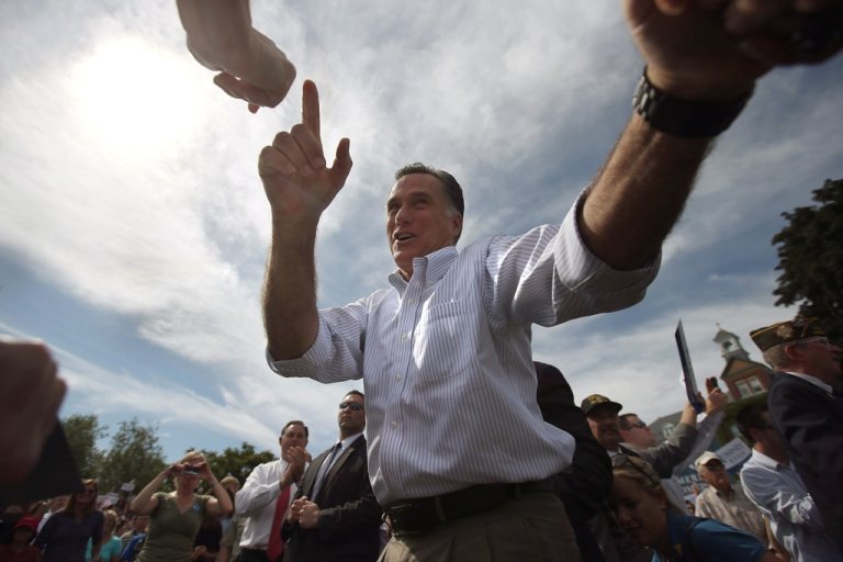 <p>MANCHESTER, NH - AUGUST 20:  Republican presidential candidate, former Massachusetts Gov. Mitt Romney greets supporters during a campaign stop at Saint Anselm College on August 20, 2012 in Manchester, New Hampshire. Romney and and his vice presidential candidate U.S. Rep. Paul Ryan (R-WI), held the town hall-style event just two days after President Barack Obama made campaign stops in New Hampshire.</p>