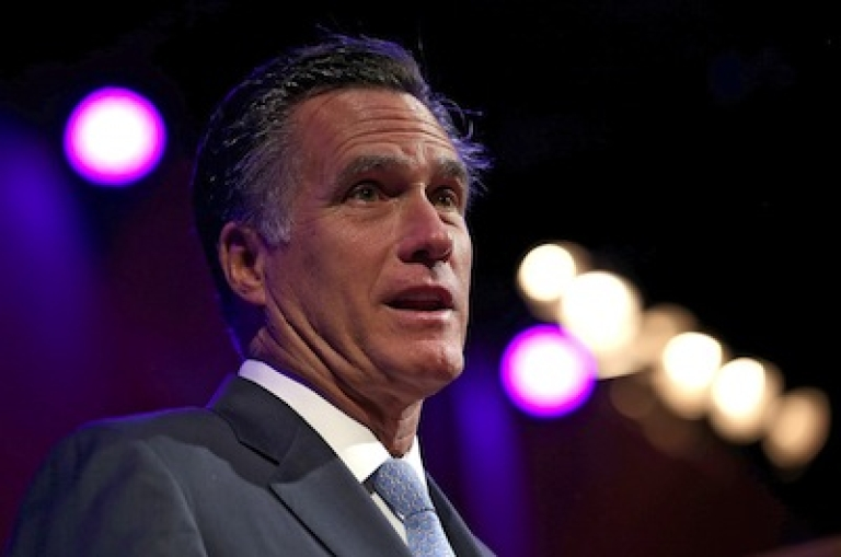 <p>Republican presidential candidate Mitt Romney speaks during an American Legion convention on August 29, 2012 in Indiana.</p>