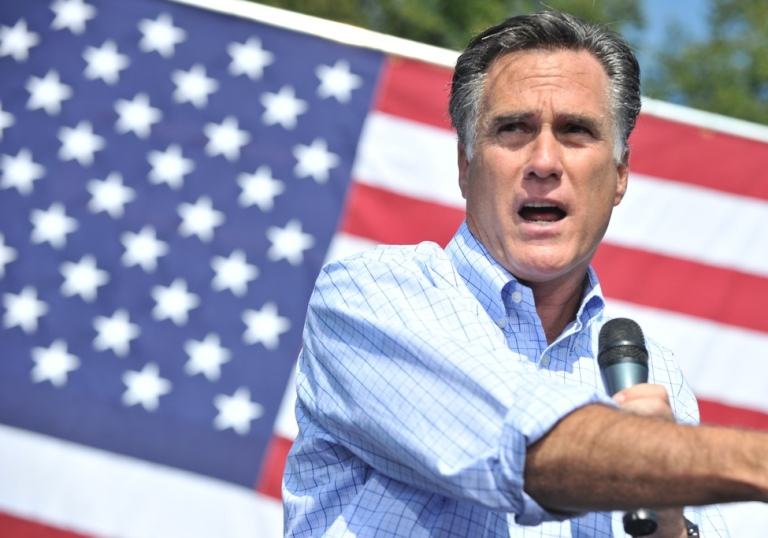 <p>US Republican presidential candidate Mitt Romney a campaign rally in Fairfax, Virginia, on September 13, 2012.</p>