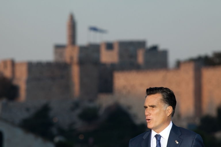 <p>U.S. Republican presidential candidate, Mitt Romney, delivers a speech outside the Old City in Jerusalem, Israel on July 29, 2012. He is in Israel as part of a three-nation foreign diplomatic tour which also includes visits to Poland and Great Britain.</p>